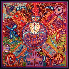 The Making of the Fire  Huichol yarn painting by  Maria de Jesus Rivera Hernandez de la Cruz