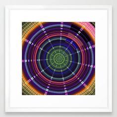 Dynamic mandala with tribal patetrns Framed Art Print
