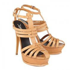 YSL - Tribute leather gladiator sandals - in saddle