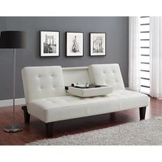Dhp Julia Convertible Futon With Drink Holder In Black Faux Leather Com
