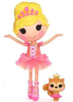 Allegra Leaps 'N' Bounds™ was once a rag doll who magically came to life when her very last stitch was sewn.  She's a marvelous dancer who never makes mistakes…that she admits to. She loves chocolates, taking a bow, and twirling until she's really dizzy!