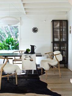 Wishbone chairs, sheepskin + cowhide rug