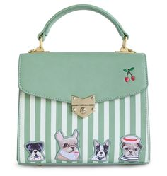 Baby Green Color Embroidery Flap Floral Stripes Dot Dog Leather Small Leather PU Women's Handbags Messenger Crossbody Bag Tote