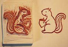 #stamp #stempel #zelfgemaakt #hand carved stamp #handgesneden stempel #eekhoorn stempel #squirrel stamp