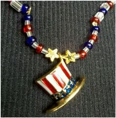 Patriotic Pendant Necklace.  Super cute beaded necklace on red, blue, and crystal beads.  Very original!