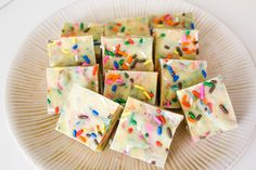 Cake Batter White Chocolate Fudge - no bake fudge tasting just like cake batter.
