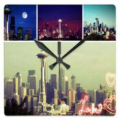 Love Seattle Photo Collage wall clock