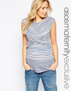 ASOS Maternity Twist Front Top In Sketchy Stripe