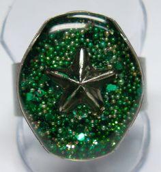 Green Glitter Star Handmade Resin Ring  Watch Case by wiggelhevin, $20.00