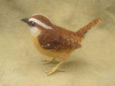 Needle felted bird, Carolina Wren.