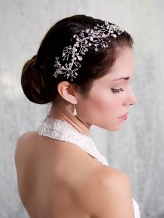Crystal Pearl Bridal Hair Vine Headpiece #bridaltiaras repinned by wedding accessories and gifts specialists http://destinationweddingboutique.com