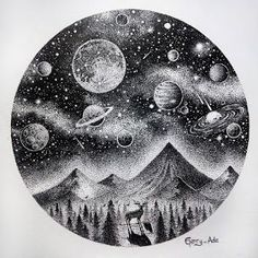 Galaxy Drawings, Dotted Drawings, Space Drawings, Cool Art Drawings, Art Drawings Sketches, Art And Illustration, Ink Illustrations, Stippling Drawing, Planet Drawing