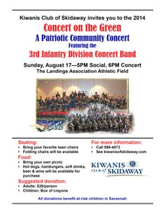 Draft flyer for our August 17 Concert on the Green with the 3rd ID concert band.   Waiting for the Army to provide a higher quality photo.