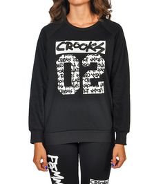 CROOKS AND CASTLES Crooks 02 fleece sweatshirt Long sleeves Crew neck with ribbed collar Soft inner . Urban Tees, Crooks And Castles, Crew Sweatshirts, Graphic Sweatshirt, T Shirt, Crew Neck, College, Logo, Long Sleeve