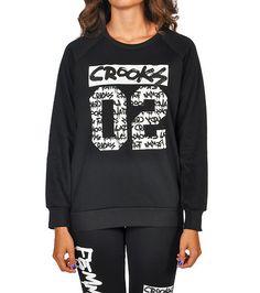 CROOKS & CASTLES WOMENS CROOKS 02 FLEECE CREW SWEATSHIRT Black