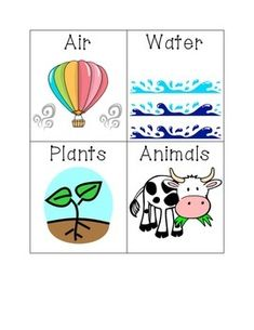 The PDF includes a title card and six natural resources (air, water, plants, animals, rock, and soil).  I created these because I couldn't find any!    Font by Hello Fonts by Jen Jones Clip art from internet search