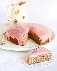 Earl Grey teacake with a rhubarb cream cheese glaze, by Raspberri Cupcakes