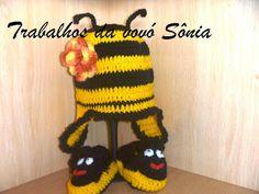 Trabalhos da vovó Sônia: Conjunto para bebê gorro e sapatinho abelhinha - c...