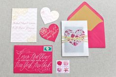 Beth + Michael's Pink and Gold Foil Wedding Invitations
