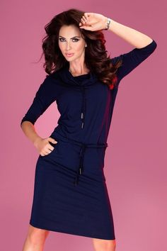 e31f23465661 Numoco Navy Blue Office Dress. Spandex 5 % Viscosa 95 % Size Hips Chest  Waist