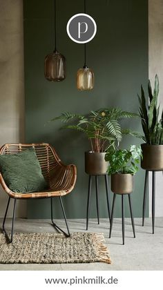 For many of us, the urban jungle look is an integral part of our own . For many of us, the urban jungle look is already an integral part of our own four walls. In our shop you can collect many new i Home Living Room, Living Room Designs, Green Living Room Walls, Green Living Room Ideas, Plants In Living Room, Brown And Green Living Room, Earthy Living Room, Green And White Bedroom, Dark Living Rooms
