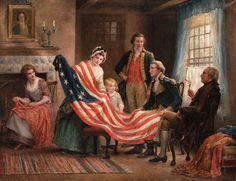 Henry Mosler - Birth of The Flag, 1912 Edward Percy Moran - The Birth of Old Glory, 1917 Unknown - Flag shop, Navy Yard, 1917 Jean Gerome Ferris - Betsy Ross 1777, c. 1920 John Ward Dunsmore - Betsy...