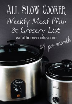 All Slow Cooker Meal Plan and Traditional Meal Plan emailed to you each week. Sneak peek of Menu for week of Jan. 6