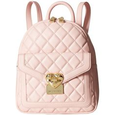 LOVE Moschino Quilted Emblem Mini Backpack (Pink) Backpack Bags ($275) ❤ liked on Polyvore featuring bags, backpacks, drawstring flap backpack, miniature backpack, draw string backpack, quilted leather backpack and pink drawstring bags