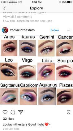 Zodiac signs makeup look Beach Makeup Look, Purple Makeup Looks, Burgundy Makeup, Glitter Makeup Looks, Yellow Makeup, White Makeup, Halloween Makeup Looks, Pink Makeup, Colorful Makeup