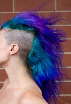 never going to do the shaved side. but this looks like blue and purple fire..so cool! #turquoise #blue #purple #multicolored