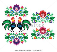 Polish ethnic floral embroidery with roosters - traditional folk pattern by RedKoala #poland #print #ethnic
