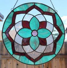 STAINED GLASS SUNCATCHER Purple Aqua by SunflowerGlassworks