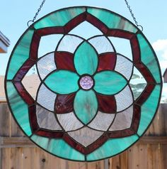STAINED GLASS SUNCATCHER  Purple Aqua by SunflowerGlassworks