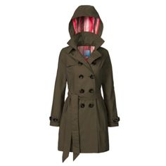 Just bought this and LOVE IT! Waterproof trench coat with adjustable hood.