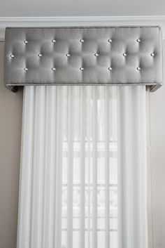 Cornice box embellished with Diamond Head Upholstery Tacks .way too much space btwn sheers and cornice though Cornice Box, Window Cornices, Cornice Boards, Box Valance, Valance Ideas, Cornice Ideas, Curtain Ideas, Window Coverings, Bedroom Windows