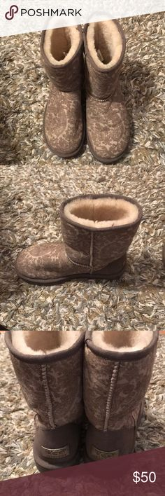 Short Uggs Gray/silver paisley printed Ugg boots! In great condition. UGG Shoes Ankle Boots & Booties