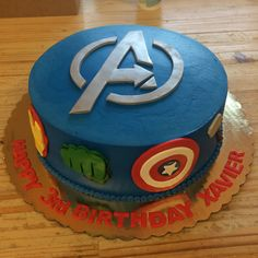 the avengers are all represented in this yummy birthday cake. #incrediblehulk #captianamerica #ironman #loki