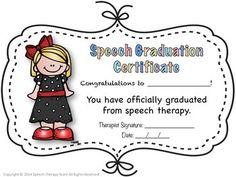 Speech Therapy Graduation Certificates Speech Therapy Organization, Graduation Speech, Therapy Activities, Therapy Ideas, Congratulations To You, Pediatric Ot, Speech Room, Early Intervention, Speech Pathology
