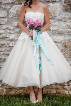 blush tea length wedding dresses - Google Search