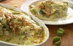 """Rick Stein served up a simple but tasty cod gratin with béarnaise sauce on Rick Stein's Long Weekends. Rick says: """"Making a béarnaise sauce is a classic chef skill and requires a little… Baked Salmon Recipes, Fish Recipes, Seafood Recipes, Savoury Recipes, Recipies, Bernaise Sauce, Rick Stein, Fish Dinner, Seafood Dinner"""