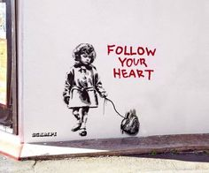 Another Banksy that I like. I really like the message in this one. Banksy combines gore (the authentic heart) with innocence (the sweet little girl). I really like Banksy& black and white, dripping paint style. 3d Street Art, Street Art Banksy, Street Art Utopia, Banksy Graffiti, Bansky, Best Street Art, Street Artists, Heart Graffiti, Urbane Kunst