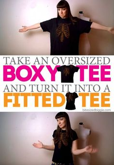 How to remake an oversized shirt into a fitted tee! Great step-by-step!