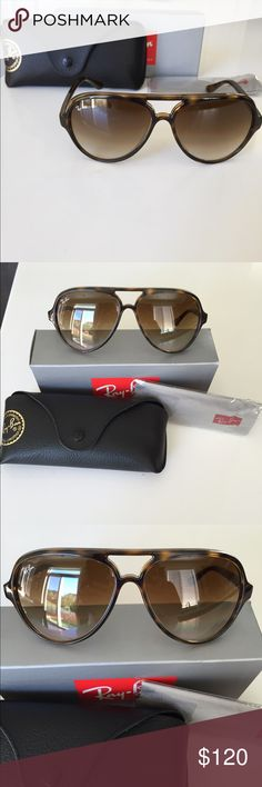 ray ban sunglasses aviator tortoise  ray ban model: cats color: light havana / crystal brown gradient lens. size: these have a classic aviator look with a brown tortoise