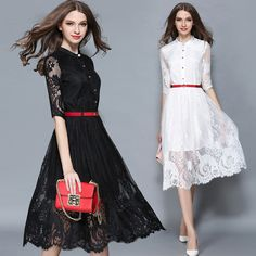 Quality High Waist Summer Half Sleeve Round Neck Single Breasted Hollow Out Crochet Lace Autumn Long Dress Women White Black -- Details can be found by clicking on the image.