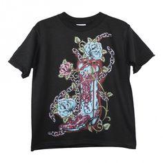 Girls Black Blue Cowgirl Boot Print Short Sleeve Cotton T-Shirt 6-16