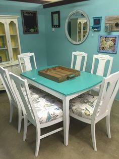 Teal and White Dining Table Set by SavedSparrows on Etsy