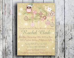 Christmas Baby Shower Invite PRINTABLE Shabby Chic Winter  Pink Girl Owl Snowflake Vintage Customizable! by HushBabyDesigns on Etsy https://www.etsy.com/listing/168941261/christmas-baby-shower-invite-printable