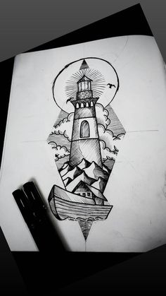 Art Drawings For Kids, Art Drawings Sketches Simple, Pencil Art Drawings, Tattoo Sketches, Traditional Lighthouse Tattoo, Medium Tattoos, Planet Drawing, Body Art Tattoos, Ship Tattoos