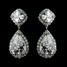 Silver Plated Cubic Zirconia Drop Bridal Earrings will add lots of sparkle to your wedding look!