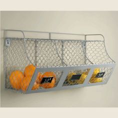 """$54 Piper Classics  The wall bin is made of light gray chicken wire and 1/8"""" metal rod. Overall the 3 bin wall shelf is 25.5"""" long x 11.5"""" high x 9"""" wide.  Each bin is 5"""" deep x 7.75"""" wide x 9"""" from from to back.  The top shelf is 24"""" x 5.5""""."""